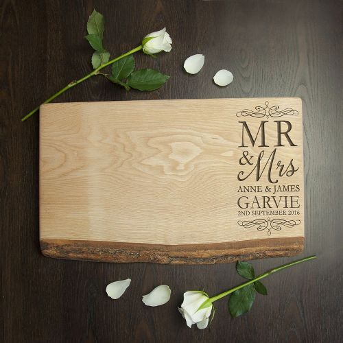 Personalised Mr & Mrs Romantic Rustic Welsh Ash Serving Board
